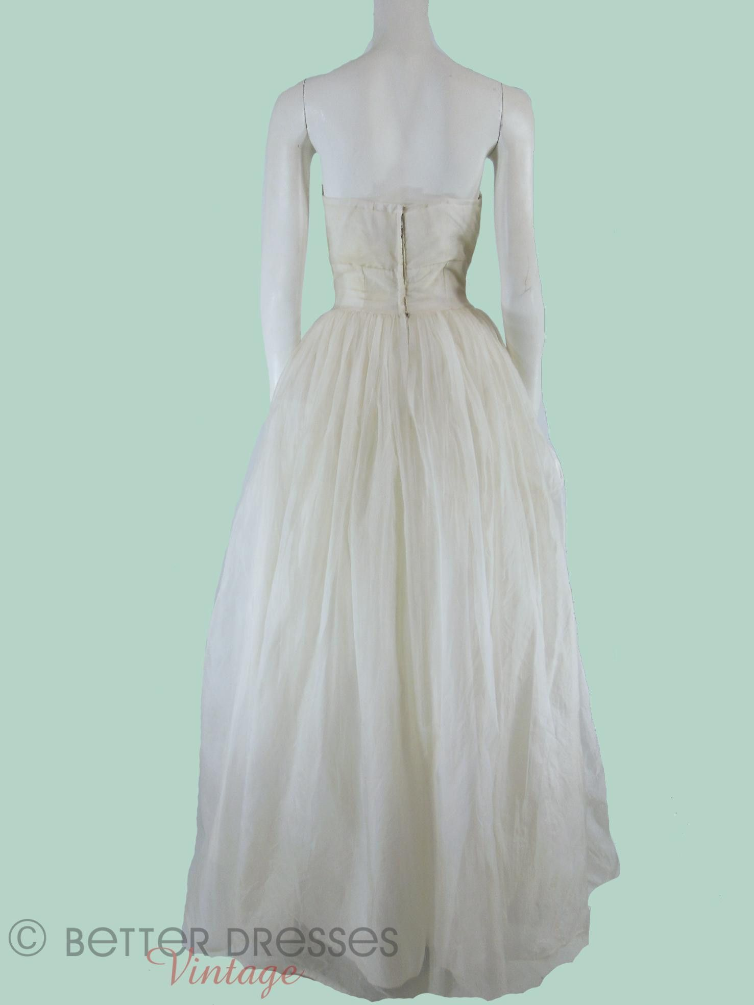 50s/60s Strapless Party or Wedding Dress - sm | Full skirts, Prom ...