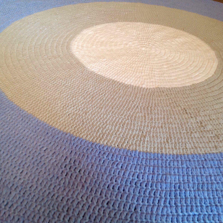 Crochet Round Rug In Blue Grey White