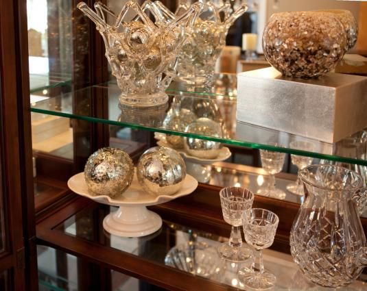 Decorate Your China Cabinet With Silver Gold And Crystal Color Themes Martha O Hara Interiors Crystal Dishes Crystals In The Home Decor