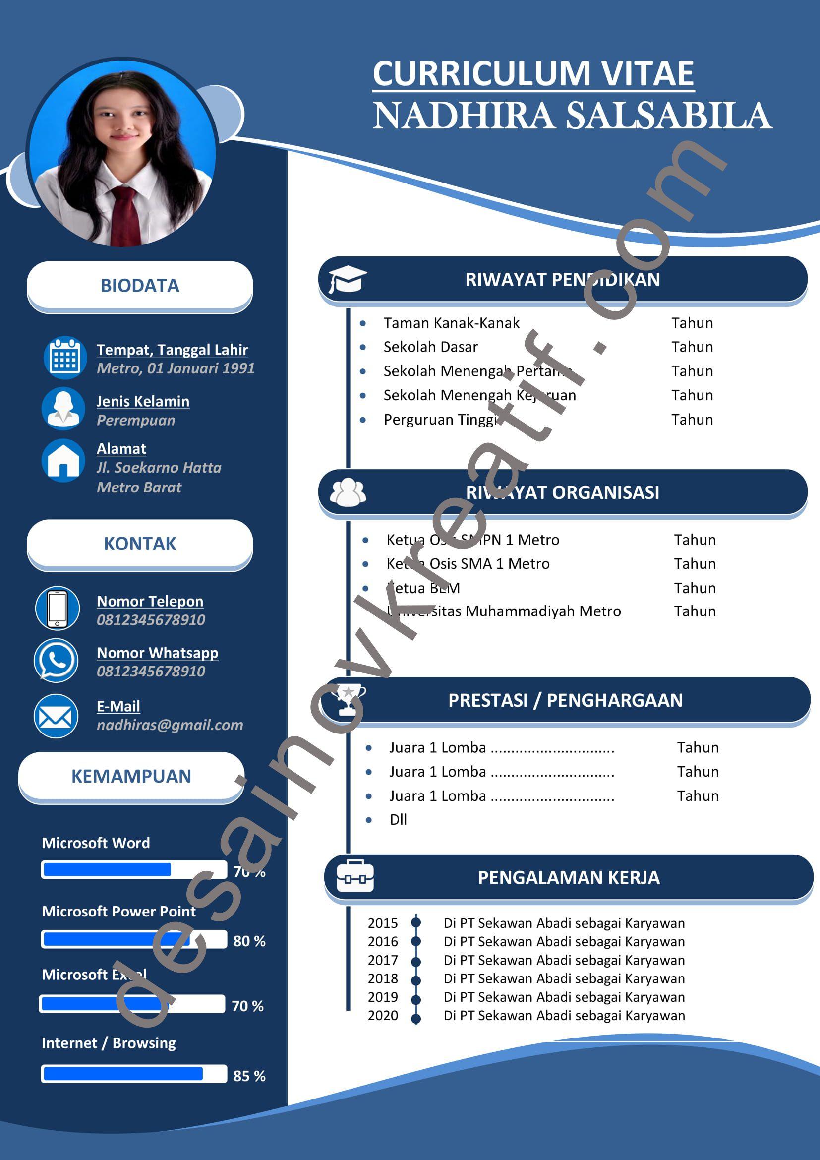 Contoh Desain CV Lamaran Kerja yang menarik (Klik for ...