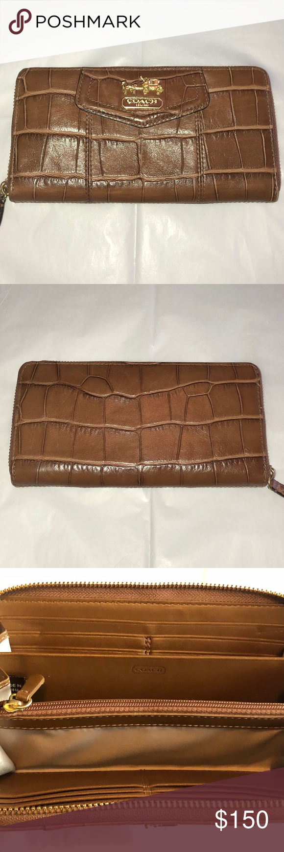 Coach Croc Embossed Leather Accordion Wallet Zip Coin Pouch Embossed Leather Wallet