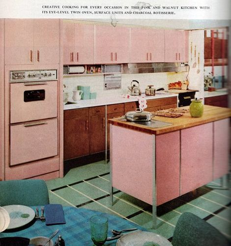 Pink and Walnut Vintage Kitchen from 1960 Cookbook. I LOVE the ...