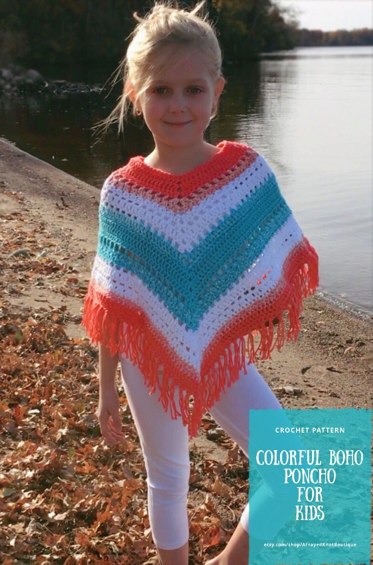 Colorful Boho Poncho for Kids- Crochet PATTERN ONLY- by A Frayed Knot Boutique  #crochetponchokids