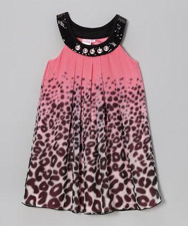 Another great find on #zulily! Pink & Black Cheetah Yoke Dress - Girls #zulilyfinds