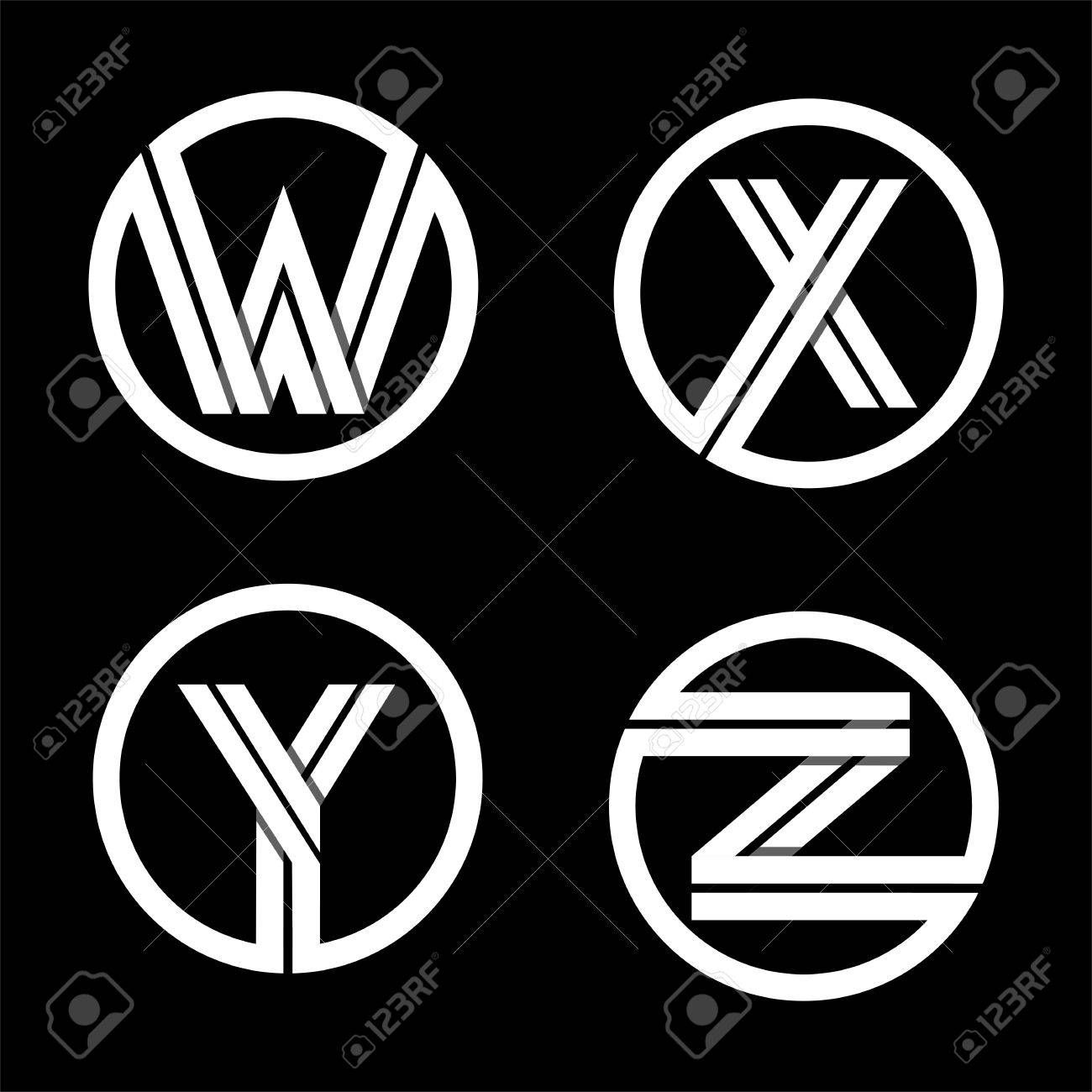 Capital letters W, X, Y, Z. From double white stripe in a
