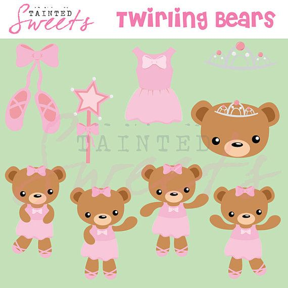 Ballerina Bears by danger0usangel03 on Etsy, $5.00 #ballerina #bears #kawaii #princess #pink #clipart