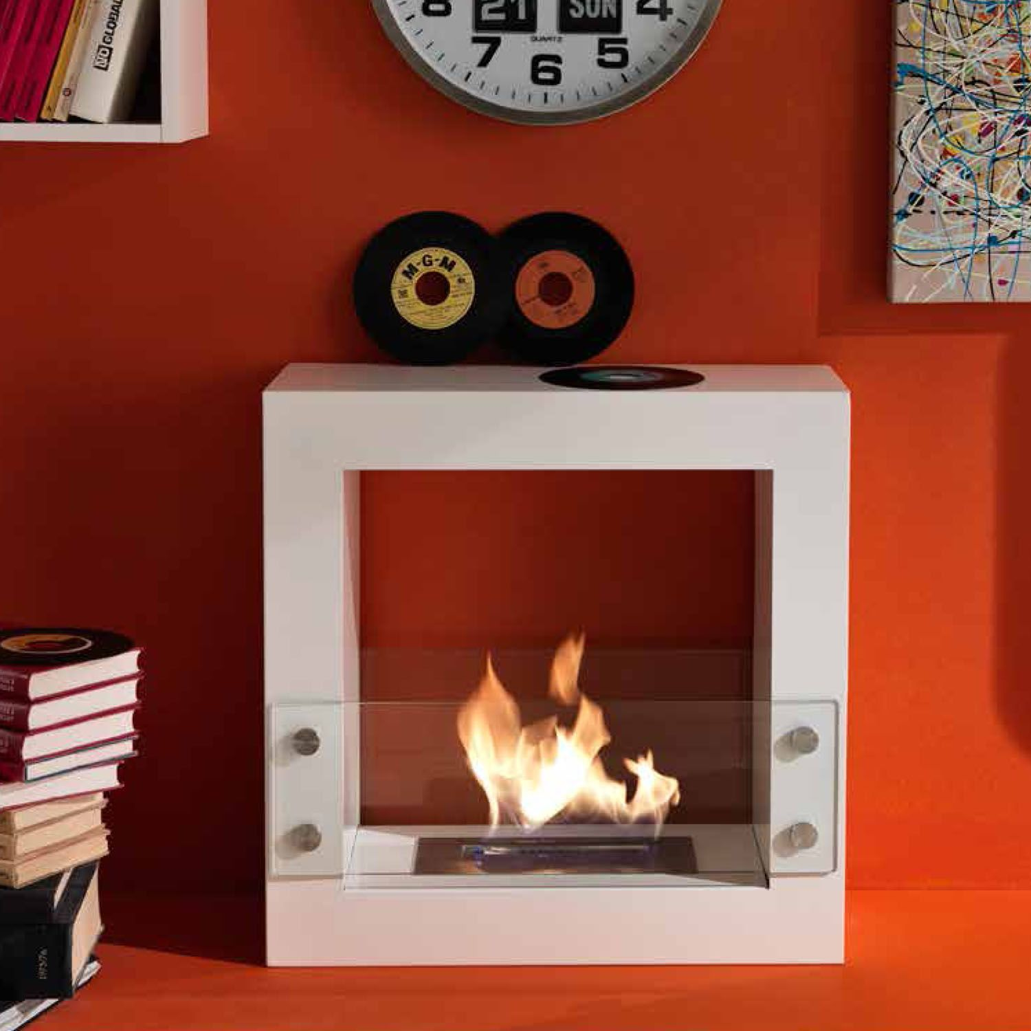 stylish povable bioethanol fireplace with a burner 1500 ml at my