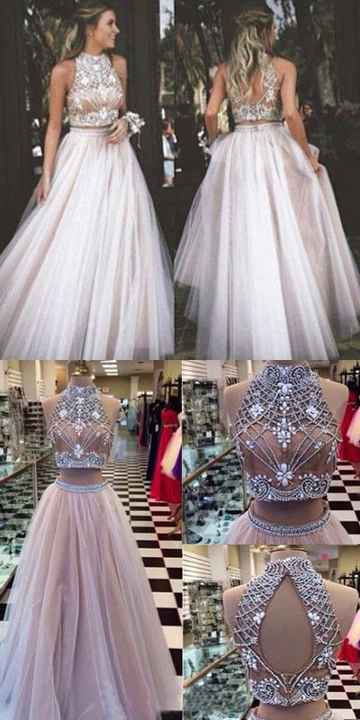 a045d197b8b45 Stylish Two Piece High Neck Open Back Tulle Prom Dress with ...