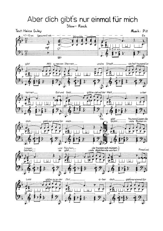 Aber Dich Gibt S Nur Einmal Fur Mich Klavier Solo Mit Unterlegtem Text Nilsen Brothers Klick Auf Die Noten Um Reinzuh Gitarren Songs Klavier Musik Lernen