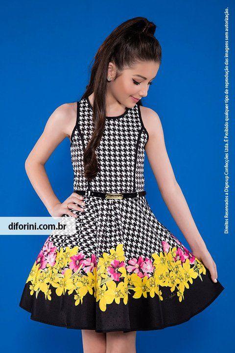 3ce9b152c Vestido Infantil Diforini Moda Infanto Juvenil 010800