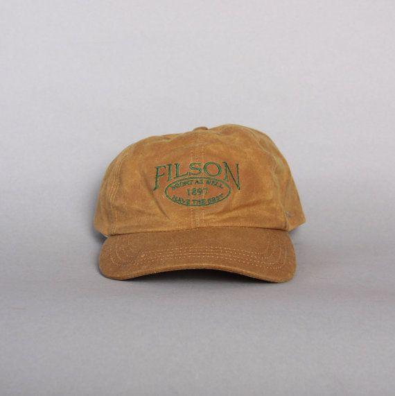 3a7ec3e5b5c Vintage FILSON Basball HAT   Tin Cloth Embroidered Logo Hunting ...