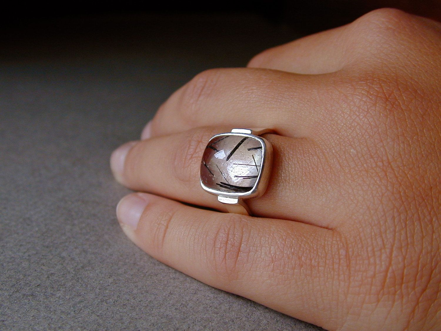 Unique Jewelry, Sterling Silver Ring, Tourmalated Quartz, Handcrafted, Minimalist