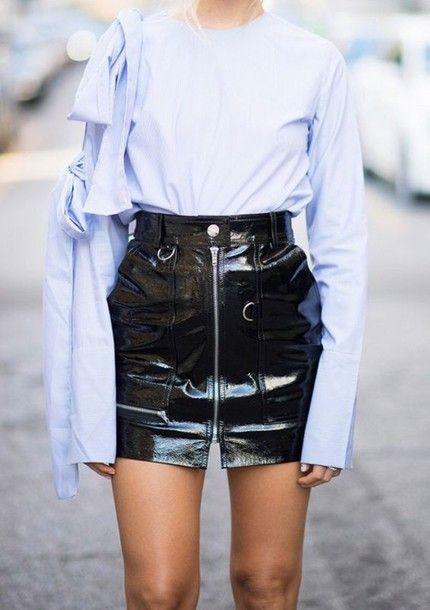 84f5bafe6805a Skirt  vinyl mini black vinyl tumblr high waisted zip zipped shirt blue  shirt bow