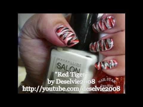 Animal Print Nail Art Easy Red Tiger Striped Nail Design Http