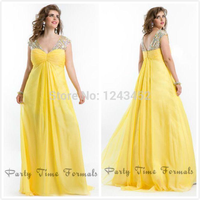 Resultado de imagem para vestido de festa amarelo plus size | Look ...