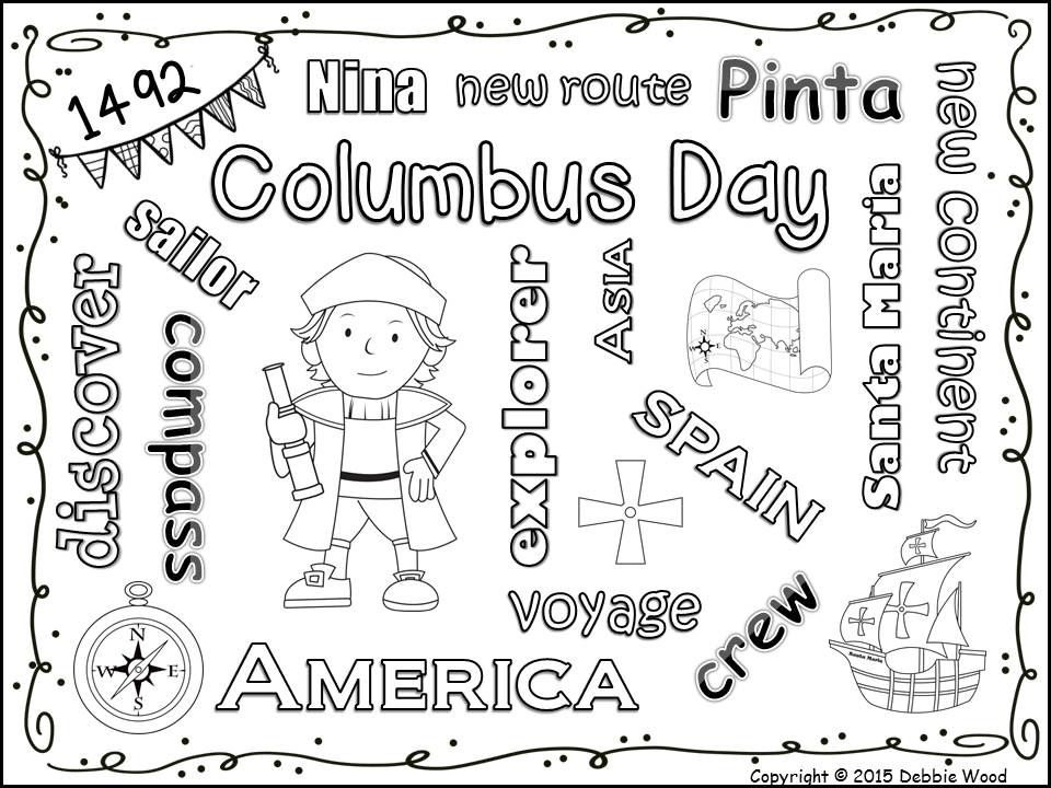 Printable Worksheets free columbus day worksheets : Columbus Day FREEBIE Vocabulary Word Art Fun! | Debbie Wood TpT ...