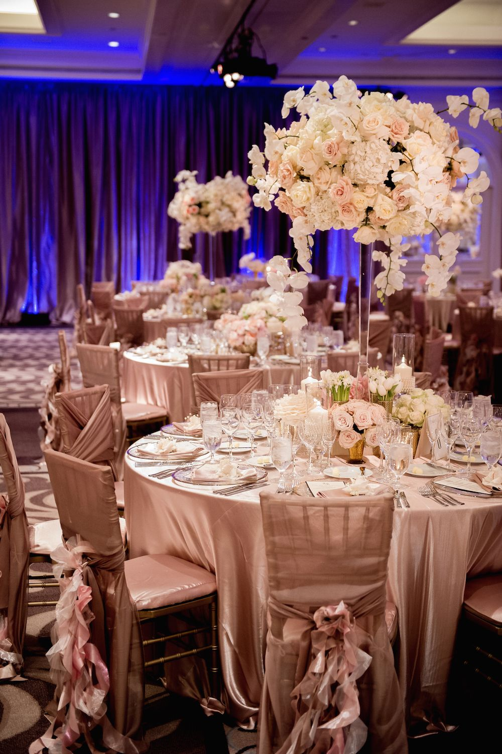 Rose gold wedding inspiration onewed rose gold ruffly wedding chair - Oceanfront Ceremony Ballroom Reception In Southern California Tall Centerpiececenterpiecesrose Gold Centerpiecewedding