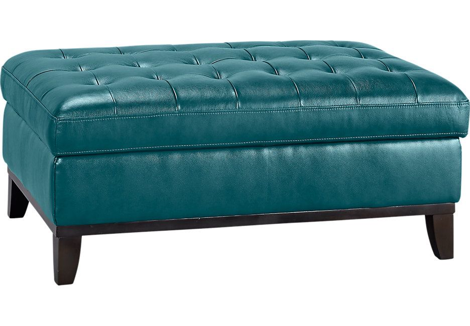 Reina Green Leather Cocktail Ottoman Cocktail Ottomans Green