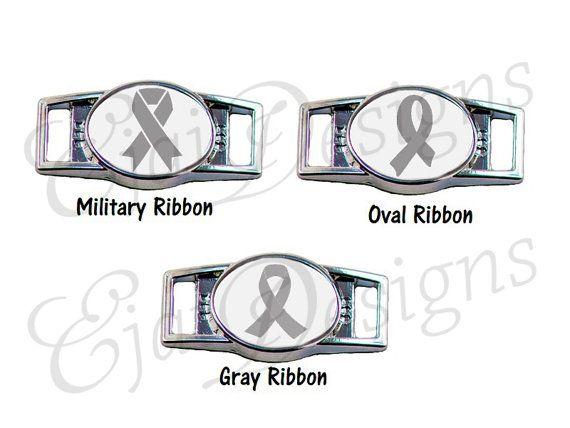 Diabetes Brain Cancer Asthma Dyslexia Parkinson's Disease Gray Silver Awareness Ribbon Shoelace Charms for Paracord Bracelet: Set of 2