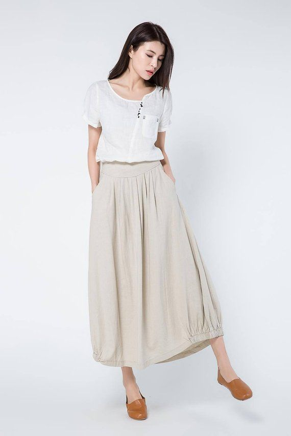 9e32d8034b beige linen skirts, full length skirt, linen skirt, long linen skirt, linen  summer skirt, elastic wa