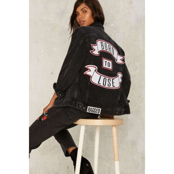 The Ragged Priest Sob Story Denim Jacket (8.080 RUB) ❤ liked on Polyvore featuring outerwear, jackets, black, patched denim jacket, collar jacket, patch jacket, patched jean jacket and jean jacket