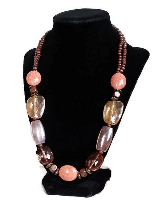 Salmon and Brown Beaded Necklace with wooden by MissGawdysJewelry