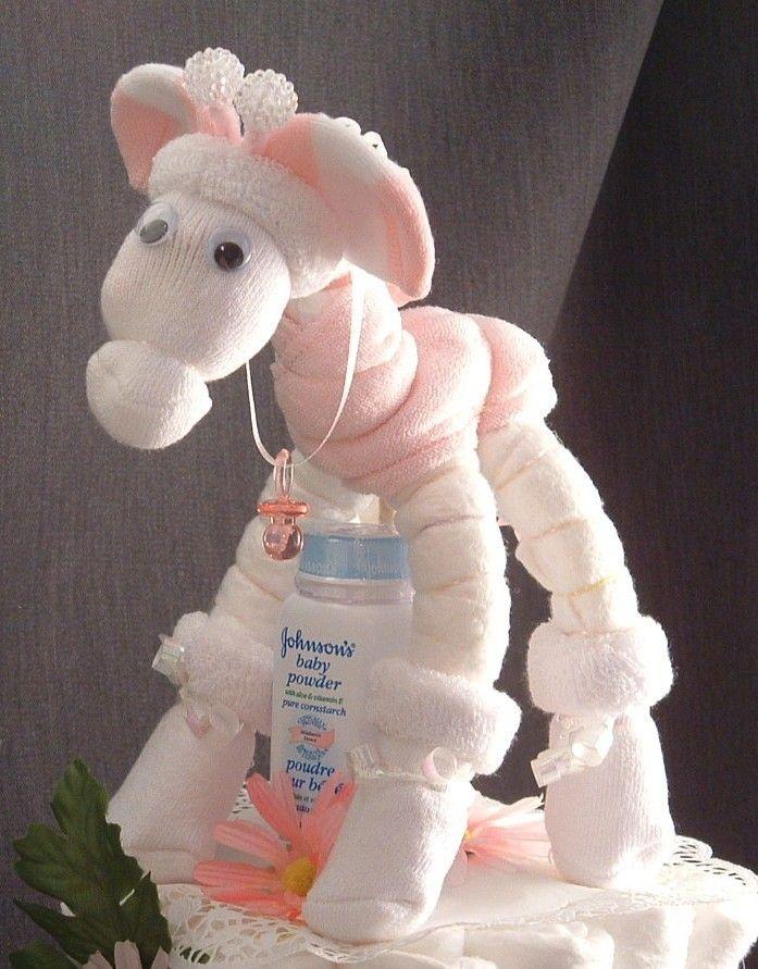 Ink giraffe diaper cake topper girl baby shower for Baby diaper cake decoration