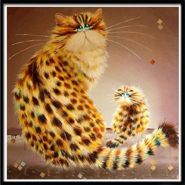5D DIY full circle character landscape diamond painting animal tiger cat Mosaic cross stitch Mosaic home decoration wall paste|Diamond Painting Cross Stitch| – 20 / Partial drill30X30cm / China