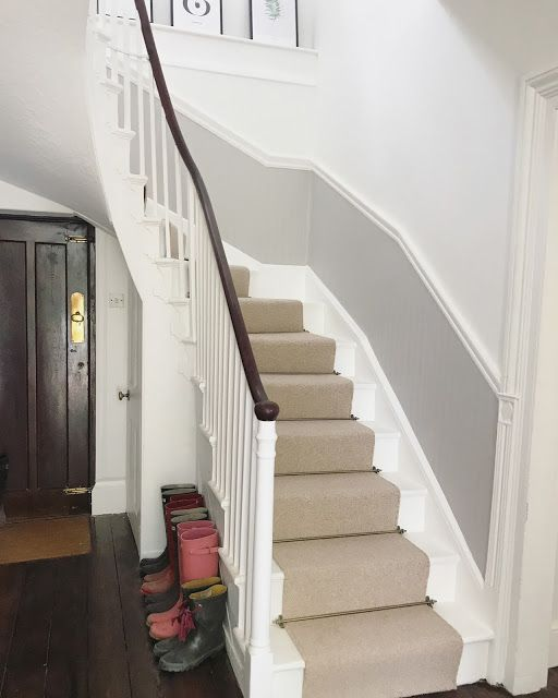 Paint Ideas For Hall Stairs And Landing: Farrow & Ball Wimborne White Paired With The Darker
