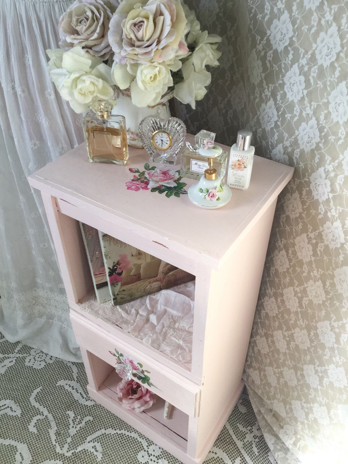 A personal favorite from my Etsy shop https://www.etsy.com/listing/492103165/shabby-pink-table-end-table-night-stand