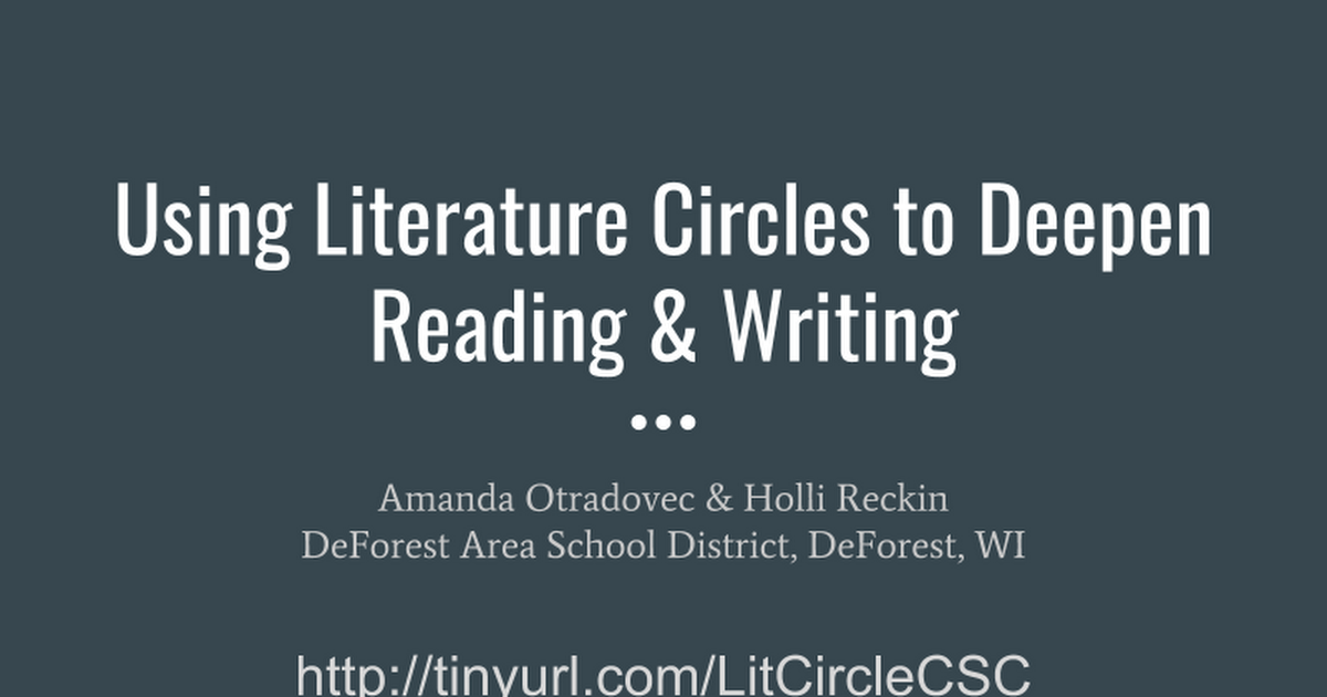 Attendee Copy of Using Literature Circles to Deepen