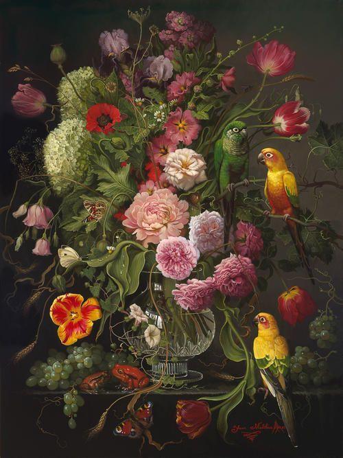 "ohdarlingdankeschoen: http://www.pinterest.com/pin/396809417142479679/ ""FLOWERS WITH EXOTIC ANIMALS"", Yana Movchan"