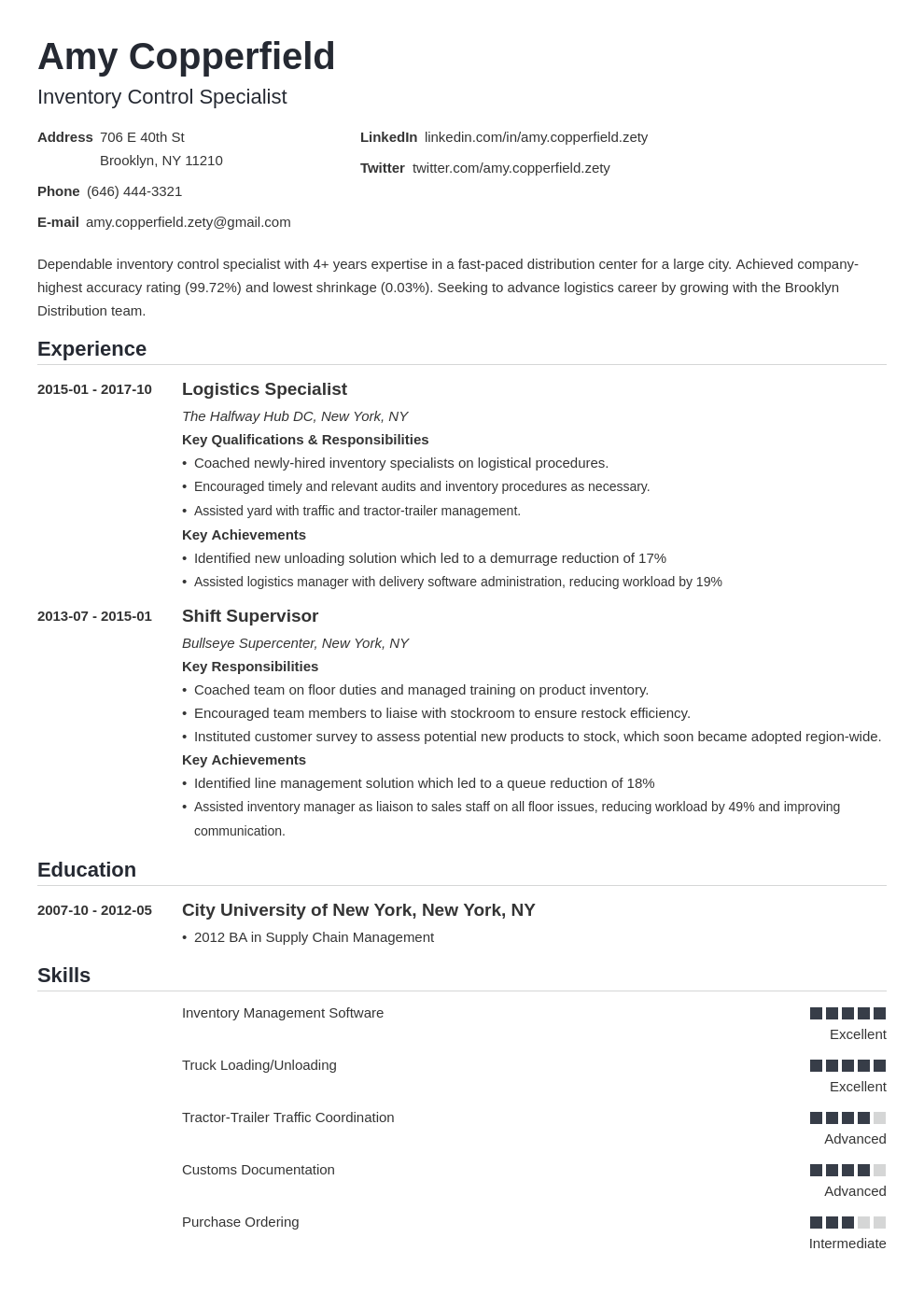 logistics resume example template nanica in 2020 Resume