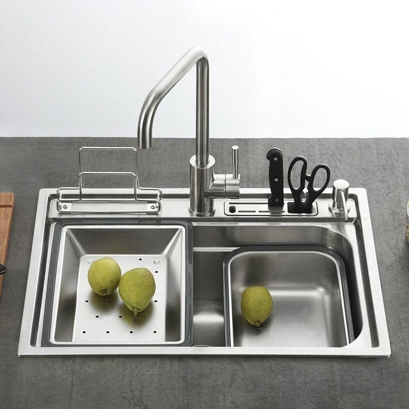 Moderne Einbauspüle Edelstahl Spülbecken Eckig für Küche GN6045 - küchen aus edelstahl