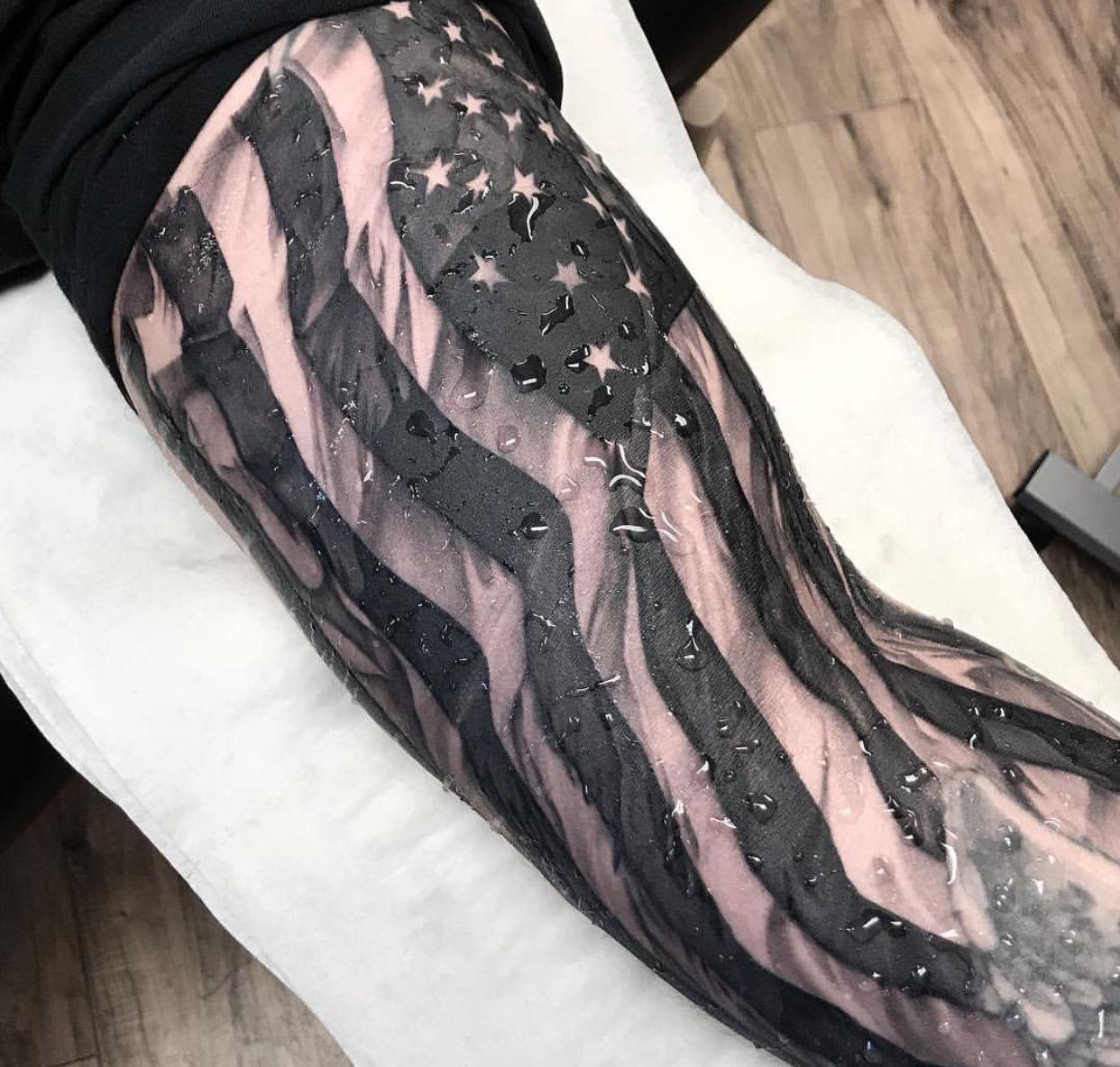 Black and white american flag black sleeve tattoo full