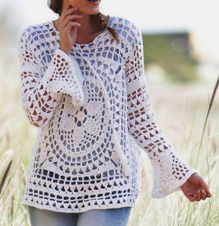 2617184691 nyari horgolt pulover | Haken | Crochet blouse, Blouse és Crochet ...