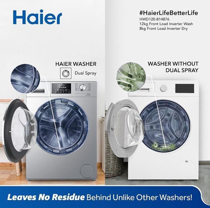 Haier Hwd120 B14876 Washer Dual Spray Innovation In 2020 Washing Machine Haier Washing Machine Washing