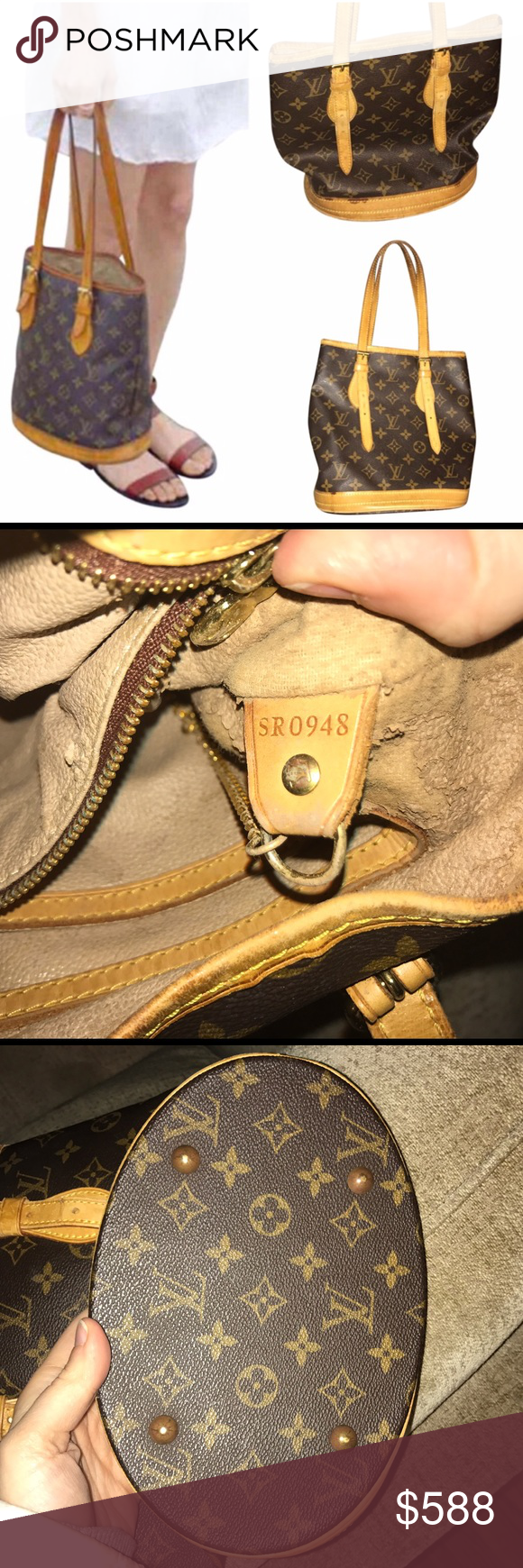 Authentic Louis Vuitton Monogram Petit Bucket Bag Coated canvas Louis Vuitton Petit Bucket w/ brass hardware, tan vachetta leather trim, dual flat straps, beige lining, dual pockets @ int. walls, pocket w/ zip closure & open @ top.   Exterior: Great condition!  Interior: There's definitely stickiness @ lining that happens sometimes w/ improper cleaner in an LV. There are DIY methods to fix (such as talcum powder/goo gone). Note: also some damage visible where the lining has shed layers…