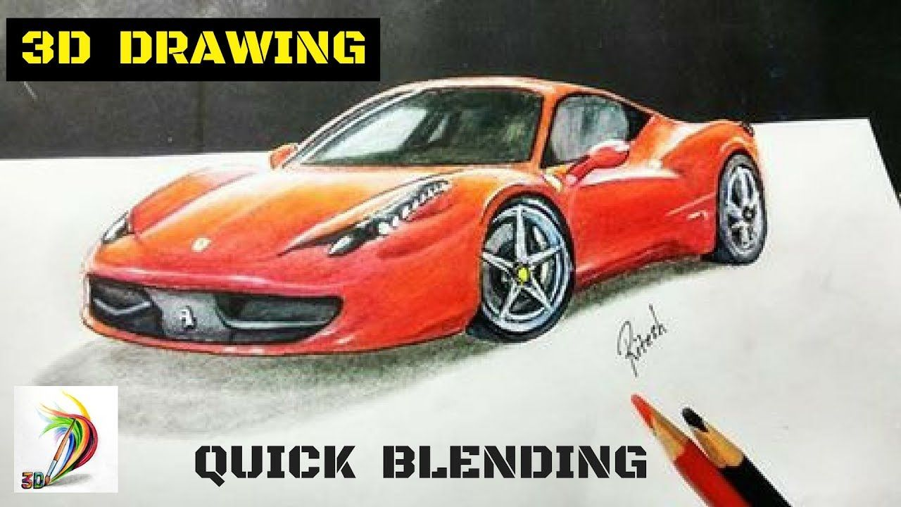 Amazing 3d drawing of ferrari car how to draw 3d ferrari car on paper