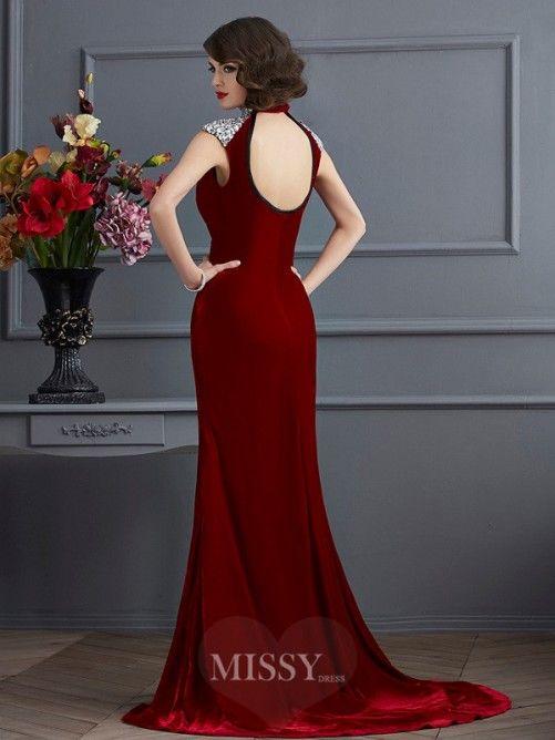 A-Linie Stehkragen Ärmellos Perlen verziert Sweep Kleid