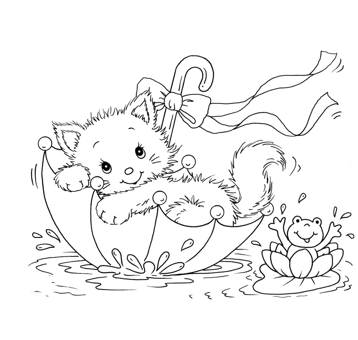 kitty cat and frog in umbrella coloring pages coloring pictures