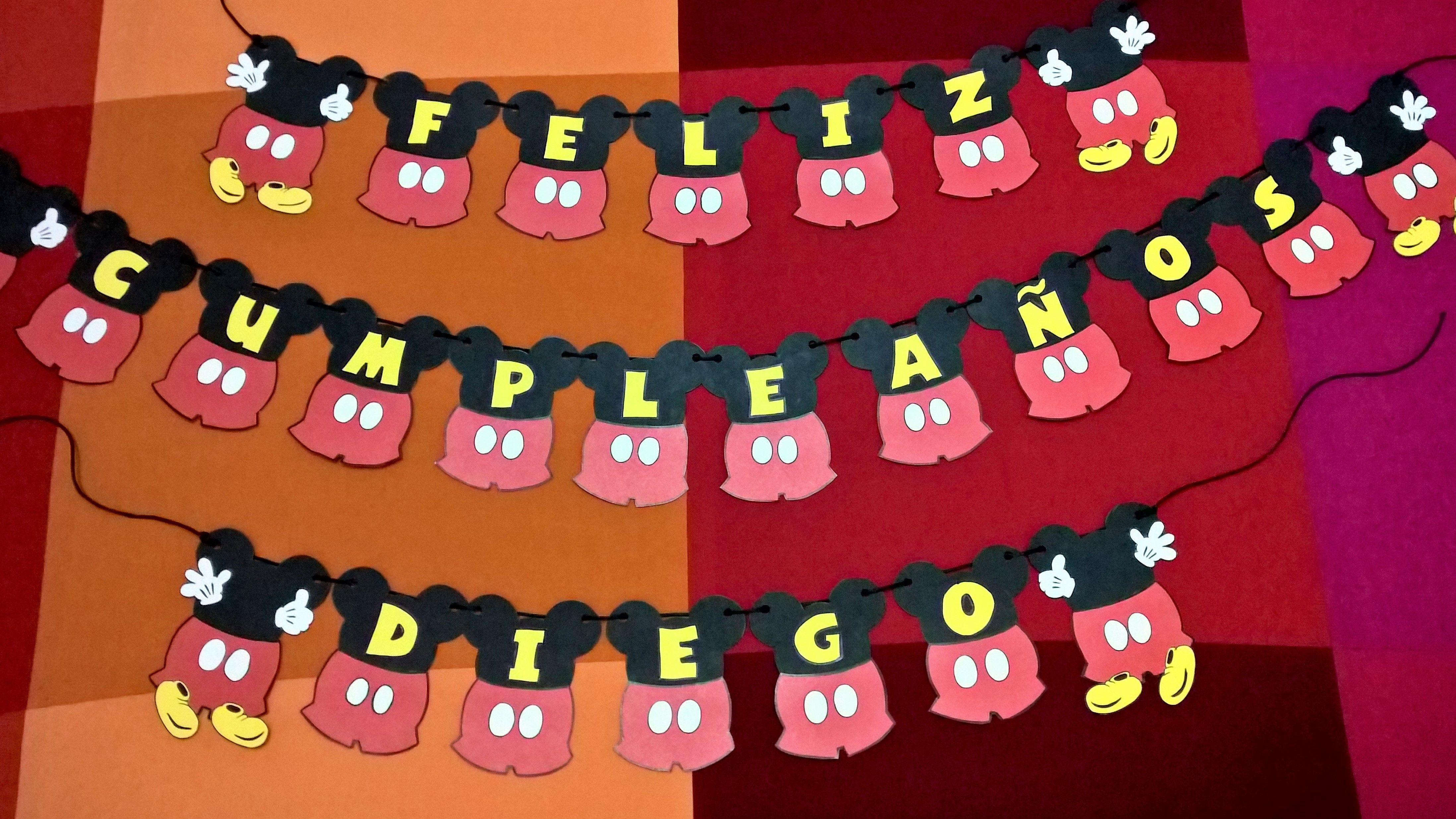 Guirnalda De Cartulina De Mickey Mouse Para Fiestas De Cumpleanos