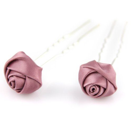 Pink Violet Thistle - Ribbon Rose - Double Prong - 2 pcs. - Hair Pin by Evolatree. $8.99