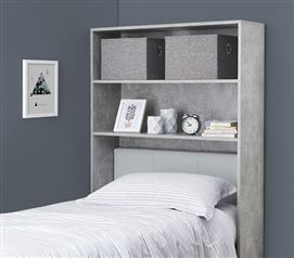 Decorative Dorm Shelf  Over Bed Shelving Unit is part of Dorm decor Gray - Decorative Dorm Bed Shelf Top Features include Decorative dorm bed shelf to hold pictures of family and other dorm room decor Particle board construction  pieces screw and hammer together Made specifically to fit between your dorm bed and your dorm room wall A dorm essential for having decorative dorm items without losing dorm room space!Please Note Shelves are for decorative use only and are not intended to hold heavier items such as printers or televisions   Place unit securely between your dorm bed and dorm wall to avoid having a dorm floor shelf