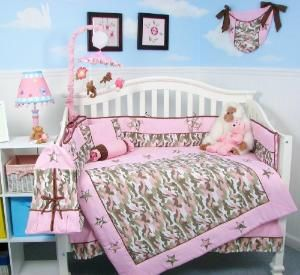 Soho Pink Camo Baby Crib Nursery Bedding Set 13 Pcs Included Diaper Bag With Changing Pad