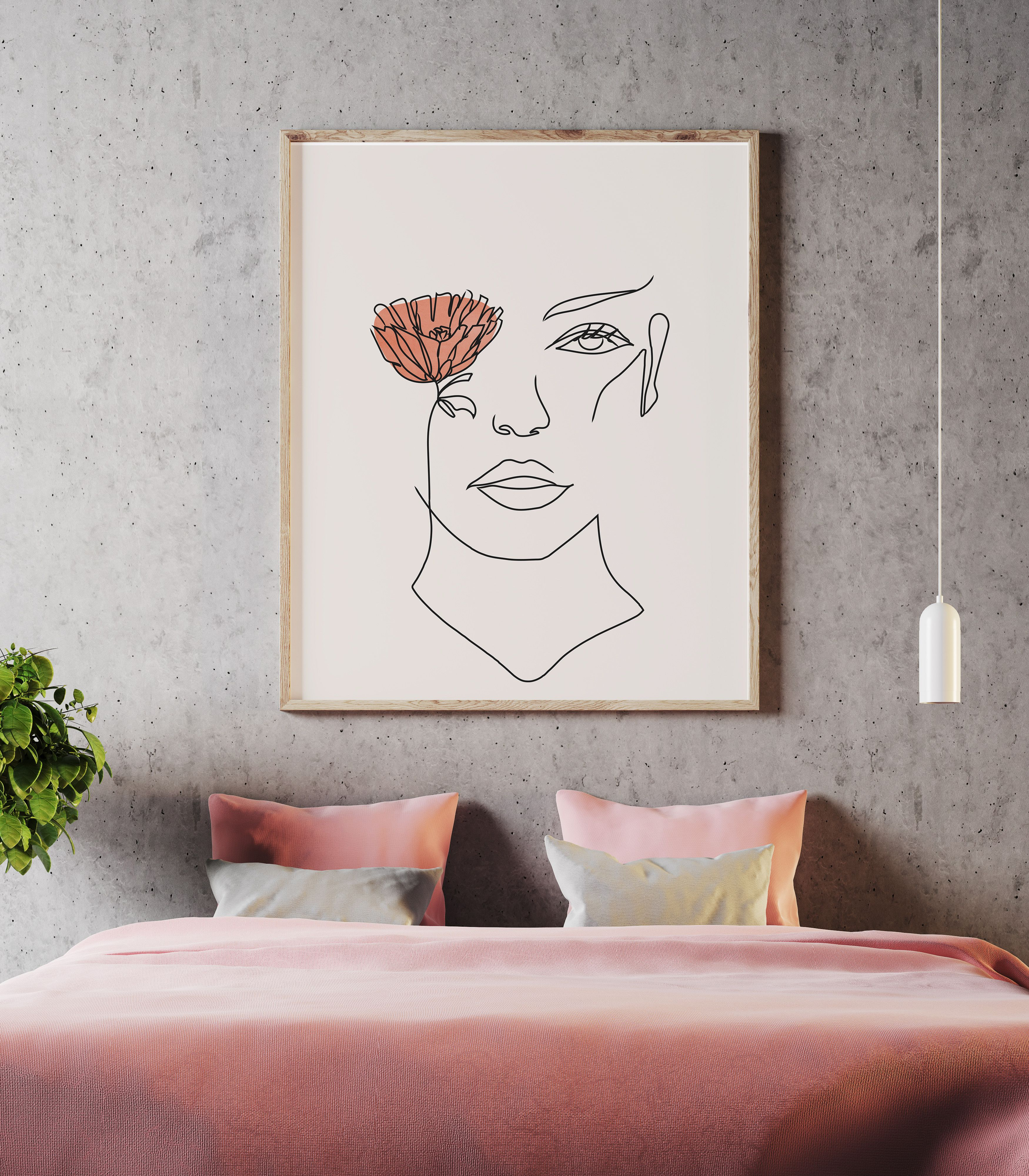 Female Face Line Art Print Flower Eye, Woman Face Single Line Drawing