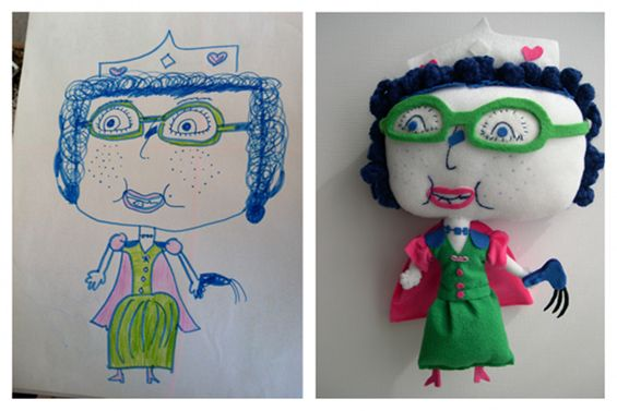 artist creates dolls from children's drawings