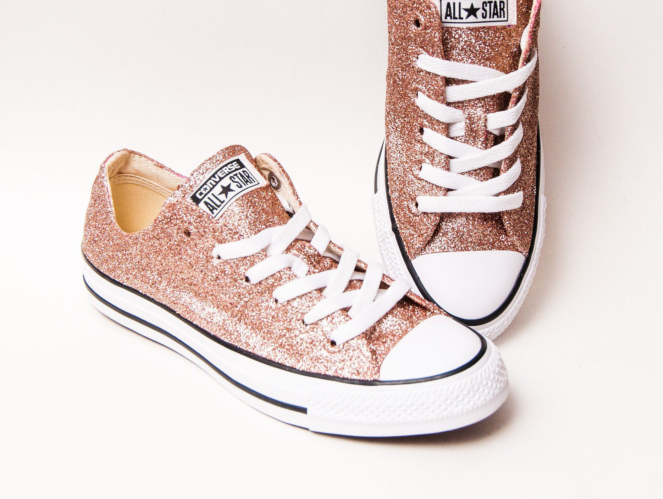 Rose Gold Glitter Converse® All Star Low Top Sneakers in