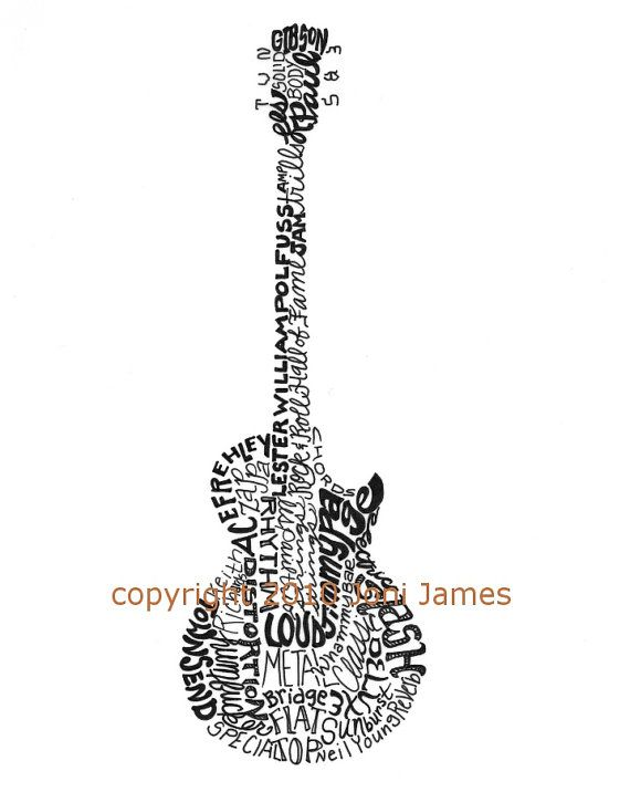 Electric Guitar Art Typography Drawing Gibson Les Paul Style Guitar