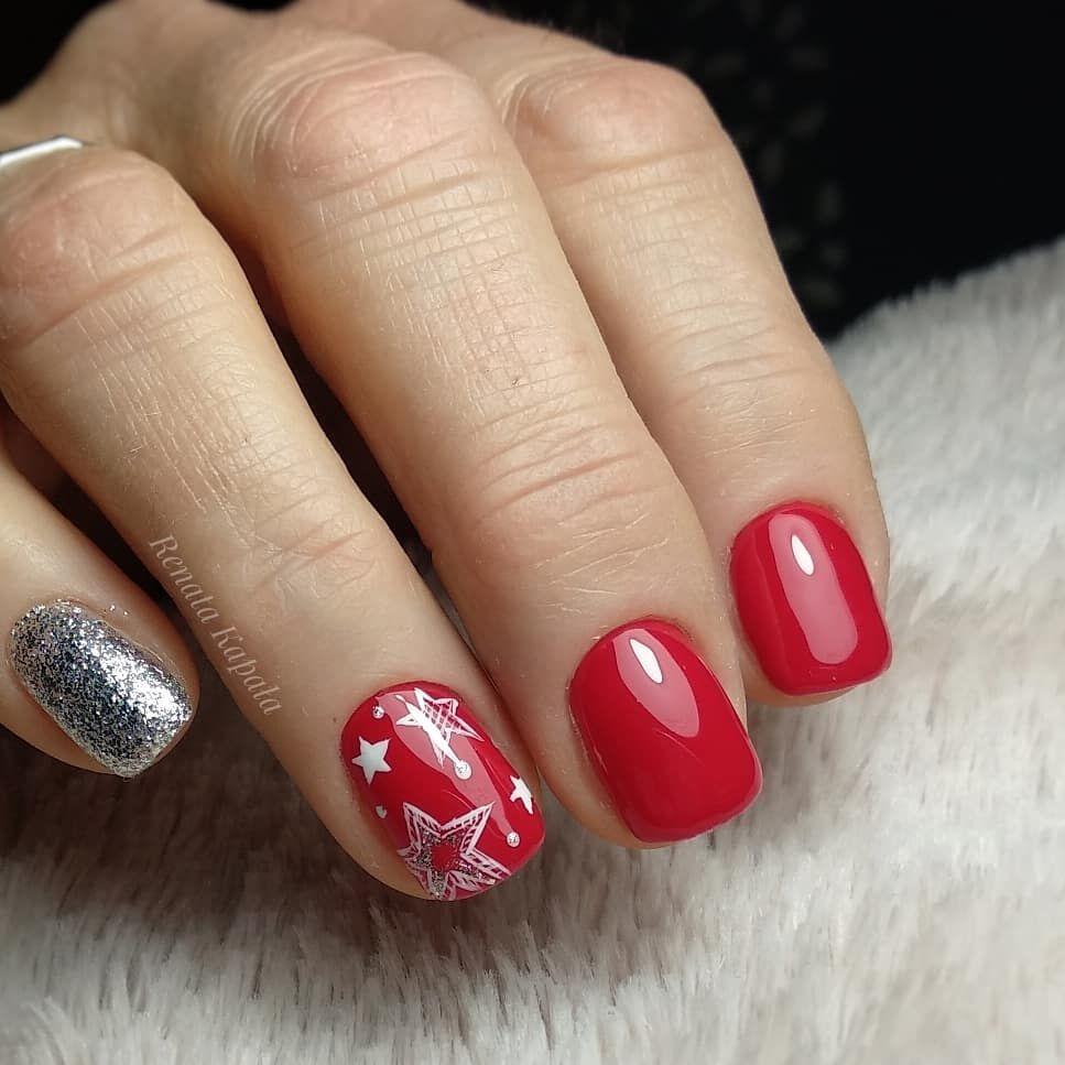 Nails Nail Christmasnail Nailart Rednail Czerwone Bling